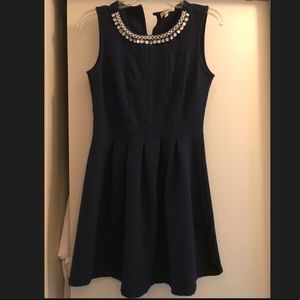 Dresses & Skirts - Navy blue dress with pearl and rhinestone detail